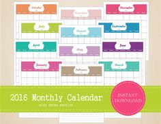 Printable 2016 Monthly Calendar with notes by MBucherConsulting Printable Calendars, Printable Planner, Printables, 2016 Planner, 2016 Calendar, Planners, Notes, Organization, Paper