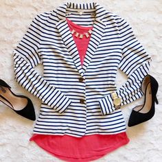 J. Crew Navy Striped Blazer In EUC! Worn very gently. Super chic but still comfy and flattering! Size medium, I think could also accommodate a large. Made from 100% cotton. Smoke/pet free home. Ask all questions before buying NO trades ❌ bundle for a discount •blazer may also be for sale, inquire if interested• •last photo is a stock photo to show fit• J. Crew Jackets & Coats Blazers