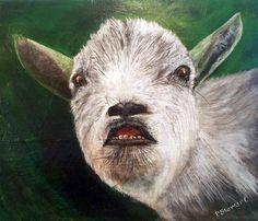 """Pygmy Goat, Smiling, 16 x 20 Acrylic on canvas"" - Original Fine Art for Sale - © Penny Stewart www.craftylady.com - SOLD"