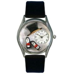 Whimsical Womens Tap Dancing Black Leather Watch