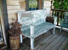 shabby chic blue bench
