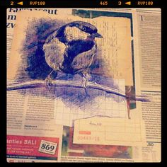 27th May - It's a beautiful day - bic and collage on newspaper