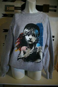 1986 LES MISERABLES Vintage 80's Gray Sweatshirt - size Large. $55.00, via Etsy.