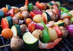Kabobs on the grill.  Veggies and shrimp.  Cavendar's Greek Seasoning and soy sauce.  Mushrooms.  Zucchini.  Yellow tommy tomatoes.  Red pepper.  Green pepper.  Red onion.  Delish.