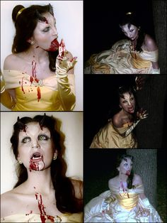 This was my 2013 Halloween costume! I was both Beauty AND the Beast (werewolf myth inspired). Bit by the beast, Belle began to transform into one herself. Dress fabricated by my talented mother because I still need some practice. Makeup by me and my sister.