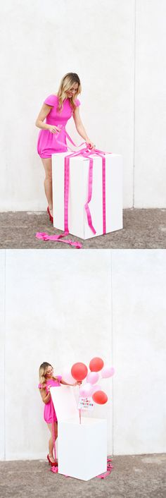 Valentine's Day ballon box surprise