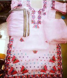 Punjabi Salwar Suits, Designer Punjabi Suits, Indian Designer Wear, Salwar Kameez, Dress Neck Designs, Designs For Dresses, Embroidery Suits Design, Embroidery Fashion, Indian Suits Online