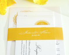 Gorgeous Gold Wedding Invitation Suite for a Classic, Modern or Formal Wedding - Medallion Monogram Deposit
