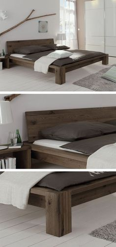 Solid wooden bed made of brushed wild oak. Oiled in three different colors … – Home Decor - Schlafzimmer Pallet Furniture, Bedroom Furniture, Home Furniture, Furniture Design, Bedroom Decor, Wood Bedroom, Bed Frame Design, Diy Bed Frame, Wooden Bed Frame Diy