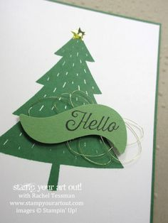 Christmas tree card made with Foxy Friends & Flourishing Phrases stamp sets & the Fox Builder punch…stampyourartout #stampinup - Stampin' Up!® - Stamp Your Art Out! www.stampyourartout.com