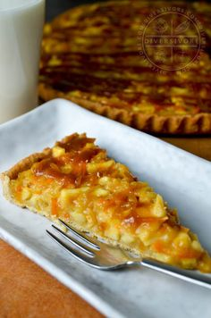 Kumquats, apples, shortcrust, caramel, and whiskey.  It's so different, and so good! #dessert #pie