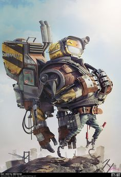 Spain-based artist David Domingo Jiménez's latest illustration featuring this newest robot character, Rob. Tools: Max, Photoshop, V-Ray, ZBrush Artist – David Domingo Jiménez Art And Illustration, Character Illustration, Arte Robot, Robot Art, Arte Cyberpunk, Robots Characters, Robot Concept Art, Chef D Oeuvre, Cg Art