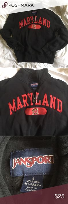 Maryland University Pullover Comfy small pullover with zipper! No it does not have a hood! Got this one from a cousin I'm a Kansas University fan so someone please buy this!!! HA pretty good condition! Not new but there is no damage! Jansport Tops Sweatshirts & Hoodies