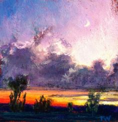 Crescent Moon at Sunset , painting by artist Takeyce Walter
