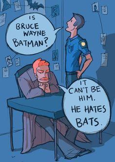 Será que o Bruce Wayne é o Batman ?!? - Claro que não ele odeia morcegos.