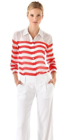 this #equipment #blouse is classic! Love it #red #stripes