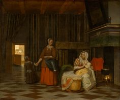 """""""Женщина с ребёнком и служанка"""" (1663-1665).Питер де Хох.  Музей истории искусств, Вена"""