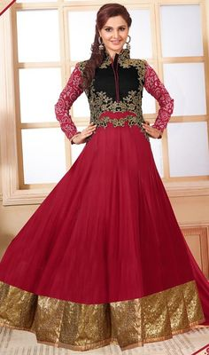 Define elegance wearing this maroon color embroidered georgette long Anarkali suit. The charming floral patch and resham work a vital attribute of this attire. #AlluringMaroonColorEmbroideredGeorgetteAnarkaliSuit
