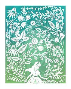 8x10 Print Secret Garden Original Papercut by SarahTrumbauer