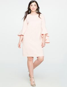 Flounce Sleeve Shift Dress   Women's Plus Size Dresses   ELOQUII