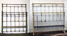 Here is an antique twin size bowed footboard bed that we converted in to a regular double/full size. Note the new castings we poured on the ends of the additional vertical rods that were also added. Antique Iron Beds, Vintage Bed Frame, Twin, It Cast, Note, Antiques, Antiquities, Antique, Twins