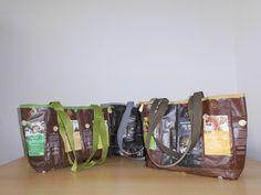Taschen#fairtrade#Kaffeetüten#selbstgemacht#grün#silber#braun