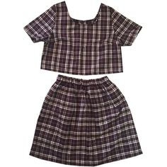 Brown Wool Tartan Plaid Co-ord Two Piece Twinset Womens Fashion... ($25) ❤ liked on Polyvore featuring dresses, skirts and high waisted two piece