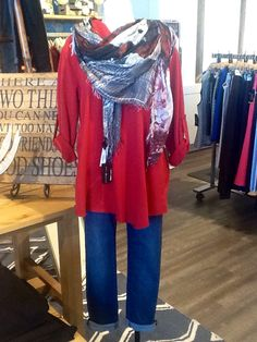 "July 2015 cozy comfy weekend or relaxed attire with a side of ""artsy vibe"" is what we are presenting here. Start off with a non-restricting boyfriend cut from Yoga jean, combined with a easy-fitting revved up red tunic. Accessorize with a Suzi Roher scarf, that brings together colours from the top and pant,and let the weekend begin..."