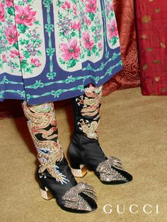 Satin boots with dragon embroidery and removable crystal bow from Gucci Pre-Fall 2017 by Alessandro Michele.