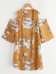 Shop Flower Print Open Shoulder Kimono online. SheIn offers Flower Print Open Shoulder Kimono & more to fit your fashionable needs.