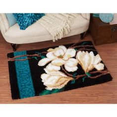 Craftways® Magnolia Designer Rug #13 Latch Hook Kit Was: $99.99                     Now: $79.99 Kunsthistorisches Museum, Diy And Crafts, Arts And Crafts, Rya Rug, Latch Hook Rugs, Rug Hooking, Magnolia, Kit, Pattern