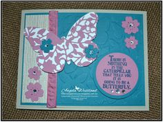 Click on the picture to see more of Angela\'s Projects. #stampinup #handmadecards #PPA309 #palspaperarts #justaddink #bloominheartthinlits #boldbutterflyframelits #sweetsugarplum #islandindigo #saharasand #butterflybasics #flutteringembossing #serenescenerydsp #sweetsugarplumruchedribbon
