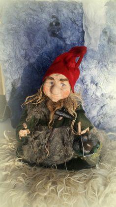 """Sindri, needle / wet felted Gnome 18"""" Wool Needle Felting, Wet Felting, Woodland Creatures, Magical Creatures, Scandinavian Gnomes, Woodland Fairy, Felt Dolls, Leprechaun, Fantasy World"""