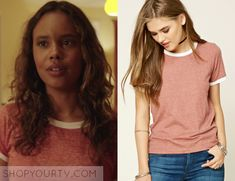 """13 Reasons Why: Season 1 Episode 11 Jessica's Red White Ringer Tee   Jessica Davis (Alisha Boe) wears this red and white short sleeve ringer tee in this episode of 13 Reasons Why, """"Tape 6, Side A"""".  It is the Forever 21 Heathered Knit Ringer Tee."""