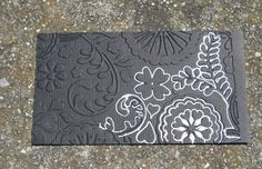 lots of embossing ideas here.one is this-white gel pen added to dark colored embossed cardstock Frantic Stamper Happenings: Technique Thursday: Embossing Folders Card Making Tips, Card Making Tutorials, Card Making Techniques, Making Ideas, Embossing Techniques, Frantic Stamper, Embossed Cards, Embossed Paper, Making Greeting Cards
