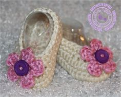 Crochet Baby Booties - Baby Girl Booties - Baby Girl - Ballet Slippers - Off White - Pink - Purple - Photo Prop - Ready to Ship. $18.99, via Etsy.