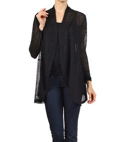 Love this Black Sheer Textured Open Cardigan on #zulily! #zulilyfinds