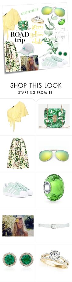 """""""road trip🍀🌞💭"""" by olivia204 ❤ liked on Polyvore featuring Post-It, Anna October, adidas Originals, Bling Jewelry, M&Co, Martin Katz and adidas"""