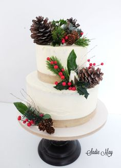 festive rustic wedding cake