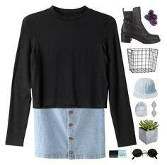 """Denim with Black"" by wi-fi-li-fe ❤ liked on Polyvore featuring moda, Monki, Balenciaga, H&M, NARS Cosmetics e Pier 1 Imports"