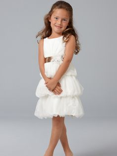 dbc08ca5ff0 Tulle Jewel Neckline Column Flower Girl Dress with Knee-Length Bubble Skirt  - Bridal Party Dresses - RainingBlossoms