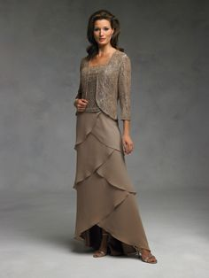 Spring Tea Length mother of the bride dresses | ... Column Tea-length Chiffon Lace Mother of the Bride Dresses with Wrap