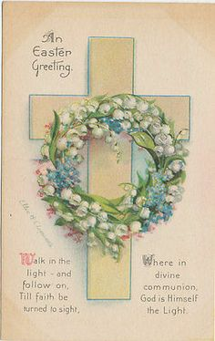 #7035 1910 EASTER GREETING POSTCARD ARTIST SIGNED CLAPSADDLE FLOWERS CROSS