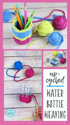 Upcycled Water Bottle Weaving Craft Upcycle an old water bottle with this water bottle craft while working on reinforcing basic weaving skills. Easy Yarn Crafts, Yarn Crafts For Kids, Upcycled Crafts, Diy Arts And Crafts, Diy Crafts To Sell, Fabric Crafts, Teen Crafts, Craft Kids, Sell Diy