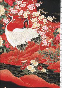 Kona Bay - Cranes & Floral Riverbank-Red & Black - Last 3 yards :