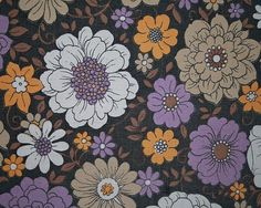 Vintage Fabric - Retro licorice, pumpkin, lavender and buttercream - Fat Quarter