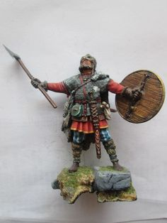 #1E- 54mm Russian Tin Toy Soldier Viking with Battle Axe and Shield