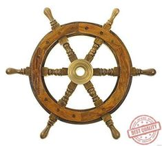 """12"""" Wooden Steering Wheel Ship Captain Pirate Wood Decoration Boat Brass Wall #SAILORSSPECIAL"""
