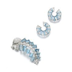 Aquamarine and diamond brooch, Cartier, 1950s and pair of aquamarine and diamond ear clips, 1930s | Lot | Sotheby's
