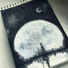 White art drawing, black and white sketches, black n white, galaxy painting Painting Inspiration, Art Inspo, Drawn Art, Wow Art, Painting & Drawing, Moon Painting, Night Sky Painting, Galaxy Painting, Cool Drawings